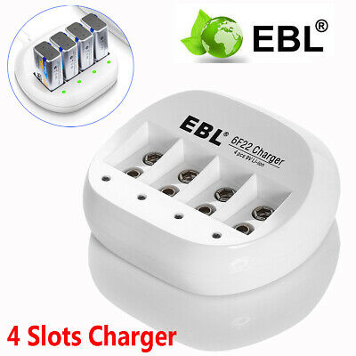 EBL 4 Slots Smart Rechargeable Battery Charger For 9V 6F22 Li-ion Batteries UK • 7.99£