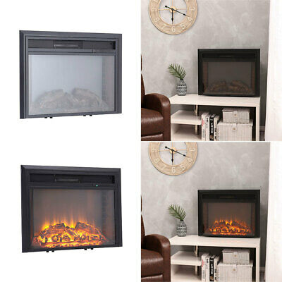 26'' LED Electric Fire Fireplace Log Burning Flame Effect Standing Heater Black  • 139.14£