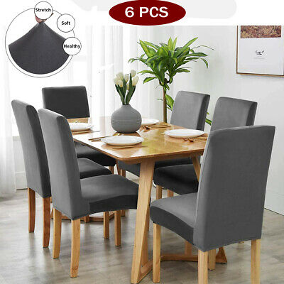 6 PCS Velvet Dining Chair Covers Wedding Banquet Party Removable UK Seat • 14.89£