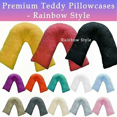 Teddy Fleece V Shaped Pillow Case Warm Soft Cosy Orthopaedic Back & Neck Support • 8.88£
