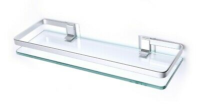£13.89 • Buy Wall Mounted Toughened Glass Shelf Chrome Supports Metal Rail - Curved Edge