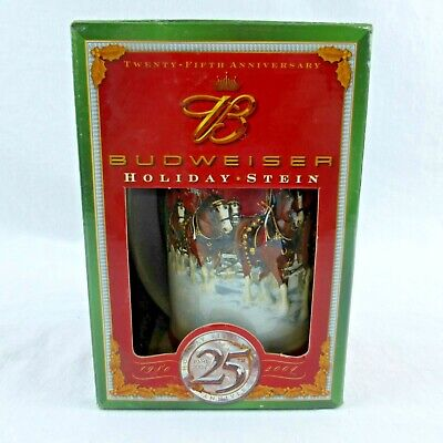 $ CDN52.25 • Buy Genuine Budweiser 1980-2004 25Th Anniversary RARE Holiday Beer Stein NEW In Box