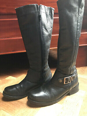 Red Herring Knee High Black Leather Boots Size 6 • 42£