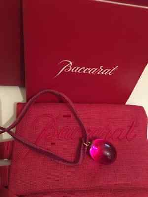 Baccarat Purple Crystal Pendant Necklace 18ct Gold • 70£
