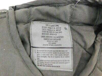$30 • Buy US Military Surplus Green 483 AIRCREW COLD WEATHER Jacket Liner XL   B3