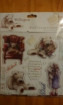 "Teddy Bear Clear Rubber Stamps For Men.  Wellington From DoCrafts. 8x8"" Set. * • 6.85£"