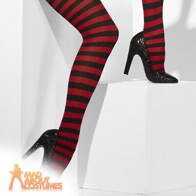 Adults Red And Black Striped Tights Ladies Halloween Fancy Dress Accessory • 3.99£