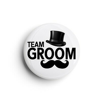 Team Groom | Stag Do Wedding Top Hat Moustache | Button Pin Badge | 25mm 1 Inch • 1.60£