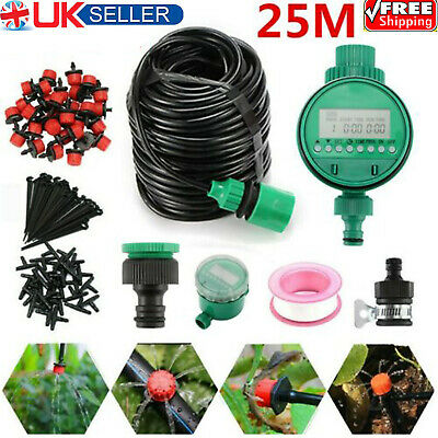82ft Automatic Drip Irrigation System Kit Plant Timer Self Watering Garden Hose • 16.19£