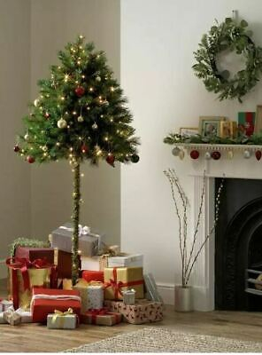 Half Parasol Christmas Tree 5ft, 6ft, 7ft In  Green Or Snow Flocked High Quality • 49.95£