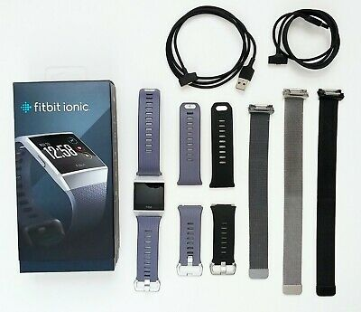 $ CDN97.30 • Buy Charcoal Fitbit Ionic Activity Smart Watch Tracker Bundle W 6 Bands & 2 Chargers