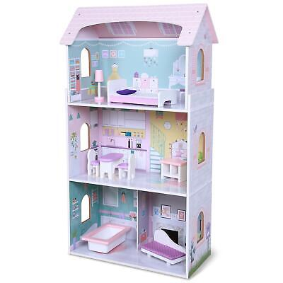 £56.99 • Buy Boppi Wooden Toy Dolls House With 8 Play Furniture Accessories And 3 Stories New