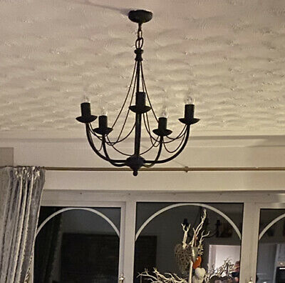 Wrought Iron 5 Arm Ceiling Light Chandelier Black Candle Light Bulbs • 35£