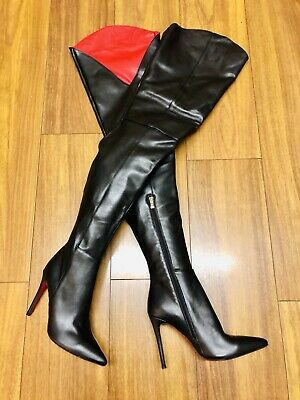 Crotch High Black Leather Fetish Boots Red Leather Lining And Soles Size 5 EU38 • 120£