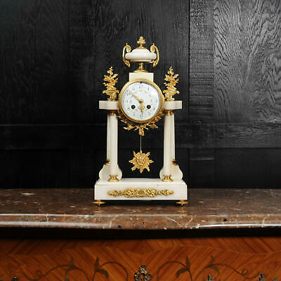 £1650 • Buy Antique French White Marble And Ormolu Portico Clock
