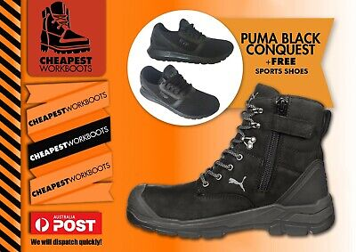 AU188.88 • Buy PUMA Conquest ZIP Sider BLACK 630737  WORK BOOTS Top Of The Range Boot Shoe+FREE