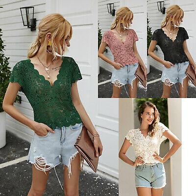 AU14.99 • Buy Women Solid Lace Sexy V-neck Fit Elegant Party Formal Short Sleeve Shirt Tops AU