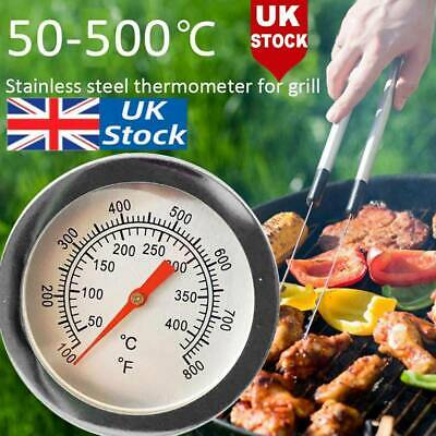 50-500℃ BBQ Barbecue Grill Stainless Steel Temperature Thermometer Gauge UK • 0.01£