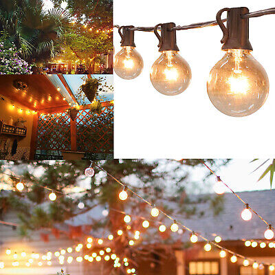 50ft Globe Festoon String Lights Mains Powered 50 G40 5bulbs Warm White Outdoor • 27.99£