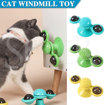 AU12.28 • Buy Cat Kitty Toy Windmill Turntable Interactive Toys Scratch Hair Tickle Brush