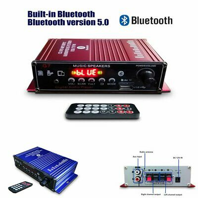 2CH 400W Bluetooth HiFi Power Amplifier Mini Audio Digital Stereo FM AMP Remote • 15.56£