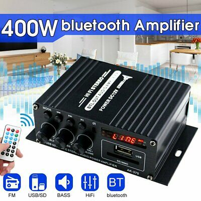400W Bluetooth HiFi Power Amplifier Mini Audio Digital Stereo FM Car AMP Remote • 14.96£