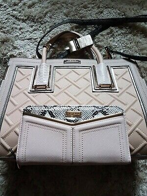 NEW River Island Nude/Pink & Gold Tote Bag & Matching Purse Has Snakeskin Detail • 39.99£