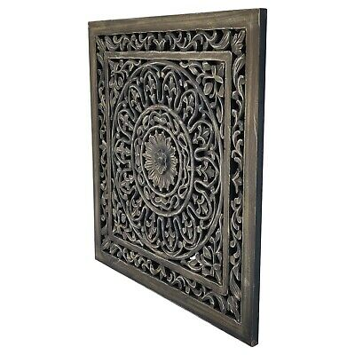 £54.95 • Buy Decorative Wooden  Wall Art. Hand Carved Panel. 60x60cm