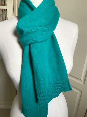 MARKS AND SPENCER AUTOGRAPH PURE  CASHMERE SCARF. KNIT. Jade Green • 11.40£