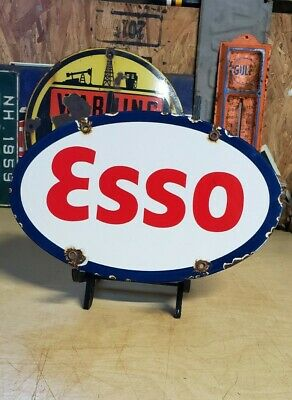 $ CDN18.04 • Buy ESSO Porcelain Sign TIGER OIL CO Vintage Petroleum Gas Pump Plate