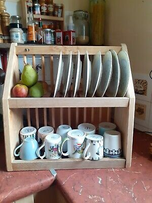 Stylish Sturdy (4.28kg) Free Standing Or Kitchen Wall Mounted Wooden Plate Rack • 16£