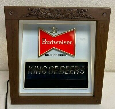 $ CDN280.58 • Buy Budweiser Beer Lighted Motion Bar Sign King Of Beers Vintage ULTRA RARE 15X15