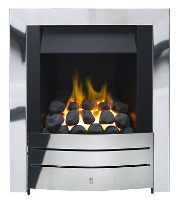 £264.90 • Buy Gas Fire Brushed Steel Flame Inset Slimline Multi-flue Stainless Steel Coals