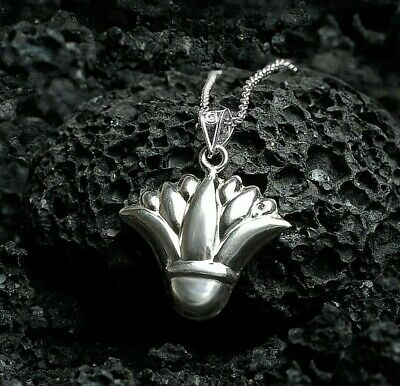 $ CDN82.09 • Buy Egyptian Lotus Necklace, Sterling Silver Louts Flower Pendant, Egyptian Flower