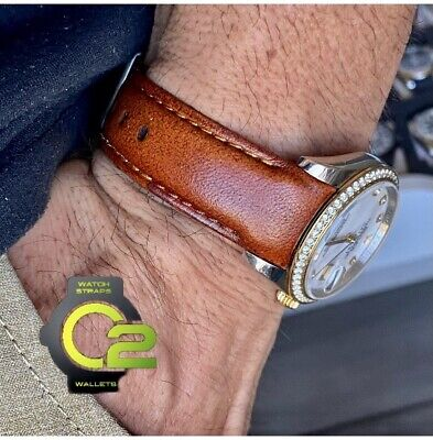 $ CDN88.35 • Buy 20mm DEEP BROWN Calfskin Leather Curved (fitted) Band Strap Rolex Datejust Watch