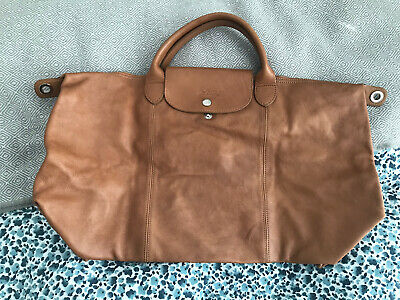 Longchamp Le Cuir Tan All Leather Bag With Shoulder Strap And Dust Bag • 120£