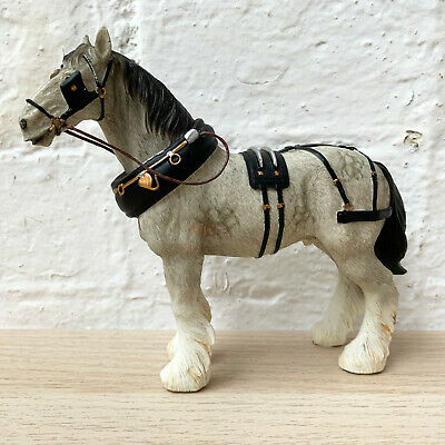 Grey Farm Country Shire Clydesdale Horse Figurine Pony Ornament Home Resin Gift • 19.99£