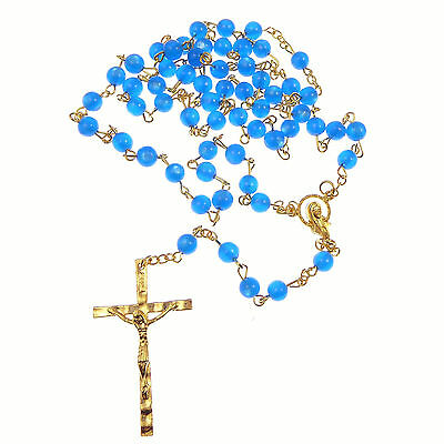 £3.50 • Buy Catholic Twin Hearts Our Lady Blue Plastic Rosary Beads Gold Chain 51cm Length