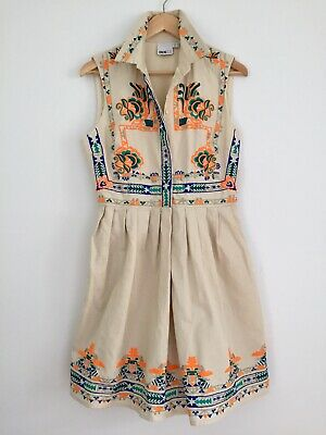 AU29.90 • Buy ASOS Tall Aztec Embroidered Cotton Dress Euro Size 40 Like New
