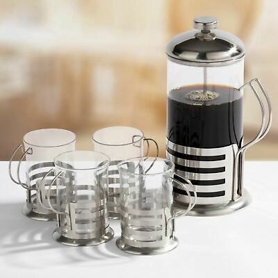 Stainless Steel 1L French Press Coffee Cafetiere With 4 Cup Mug Glasses Gift Set • 9.99£