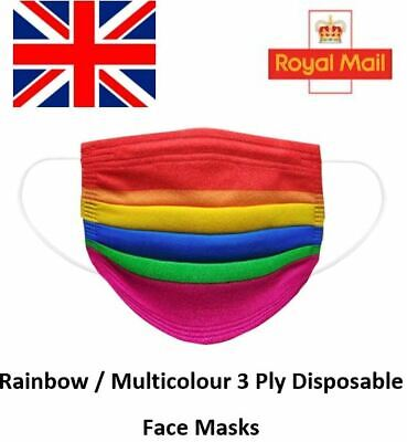 Multicolour Rainbow Disposable Face Masks 3 Ply Surgical Medical Dust Face Cover • 5.49£