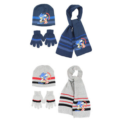 Sonic The Hedgehog Winter Woolly Hat Scarf & Gloves Set 3 To 6 Years • 8.99£