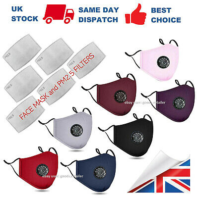 Cotton Face Mask With PM2.5 Filter Pocket Air Valve Washable Reusable Respirator • 3.95£