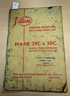 VILLIERS ENGINE MARK 29C 30C Illustrated Spare Parts List Catalogue Motorcycle • 9.99£