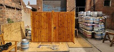 Heavy Wooden Treated Oak Stained Oiled Driveway Gates Strap Hinge Latch Included • 759£