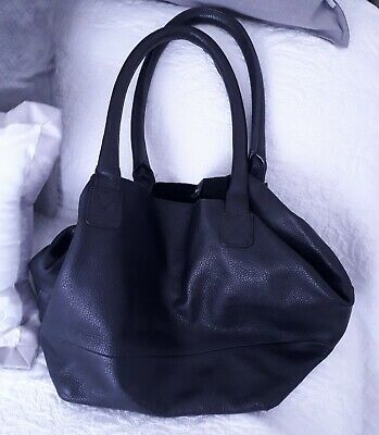 M&S Autograph Black Leather Bucket Bag • 22£