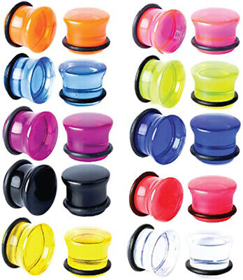 $7.95 • Buy Pair Of Single Flare Acrylic Ear Gauges Plugs Stretching O-Ring Piercing E559
