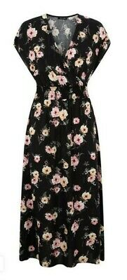 New Look Black Floral Shirred Waist Midi Dress Size 16 • 18£
