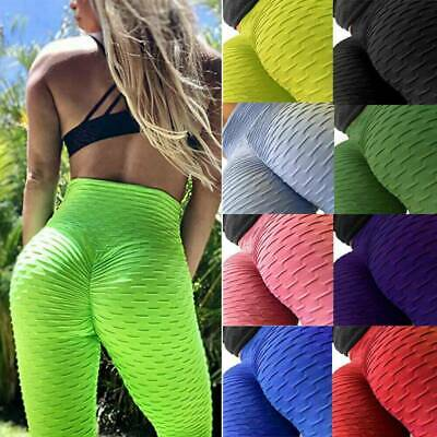 Womens High Waist Yoga Pants Anti-Cellulite Leggings Sport Gym Ruched Trousers * • 7.49£