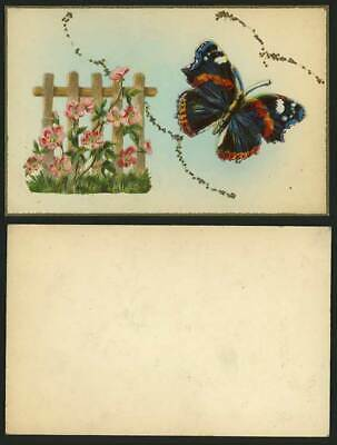 BUTTERFLY FLOWER Fence & Glitters Old Embossed Postcard • 3.99£